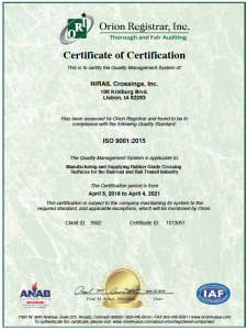 Certificate-HiRAIL Crossings,, INC.-ISO 9001-2015-Lisbon-Issued2018