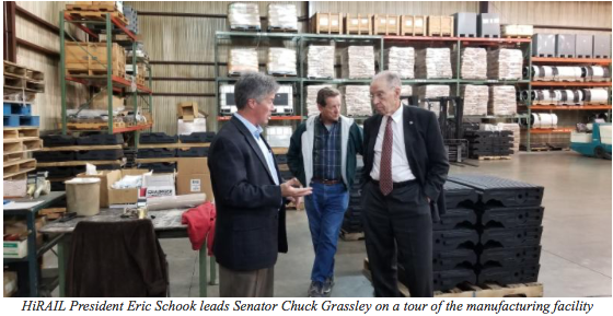 HiRAIL President Eric Schook leads Senator Chuck Grassley on a tour of the manufacturing facility
