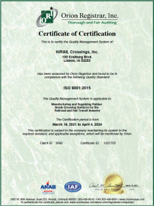 Certificate-HiRAIL Crossings, Inc.-ISO 9001-2015-Lisbon-Issued2021